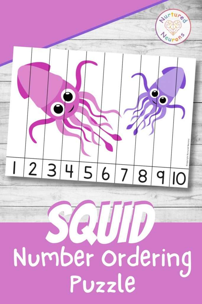 Squid number sequencing puzzle for preschool and kindergarten sea animal numbers