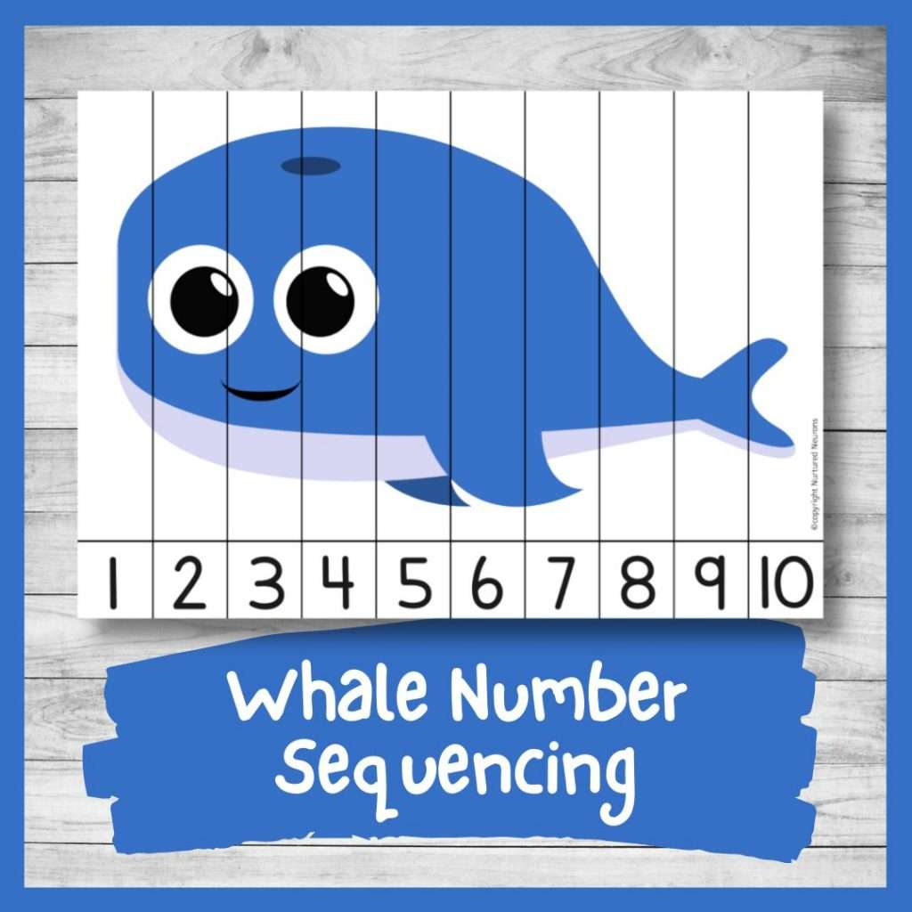 Whale Number ordering and number recognition puzzle (cute whale printable)