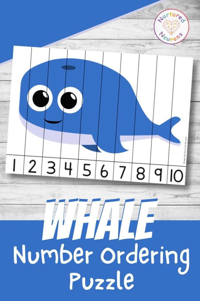 Whale number sequencing puzzle for preschool and kindergarten number ordering