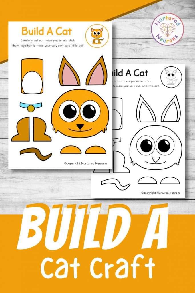 build a cat craft printable cute cat cut and paste for preschool and toddlers