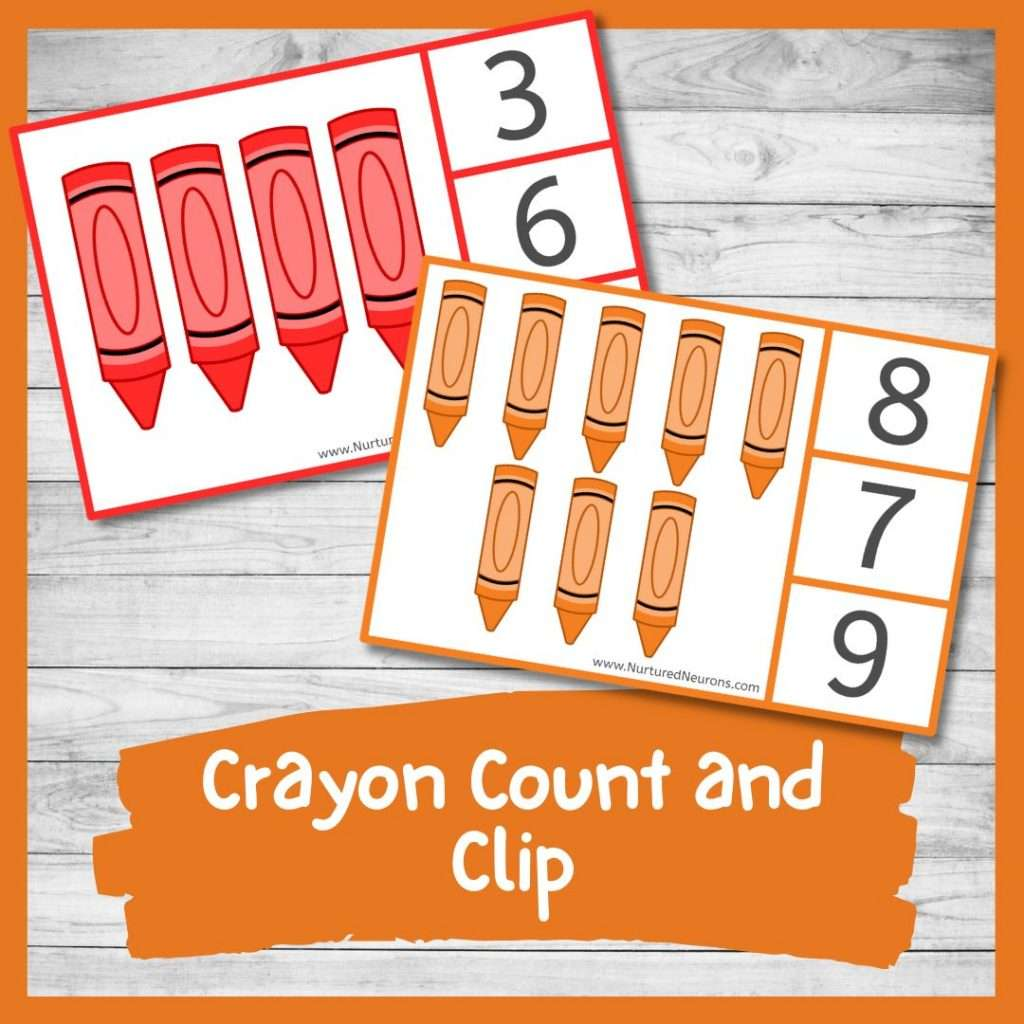 crayon peg cards for preschool and kindergarten counting
