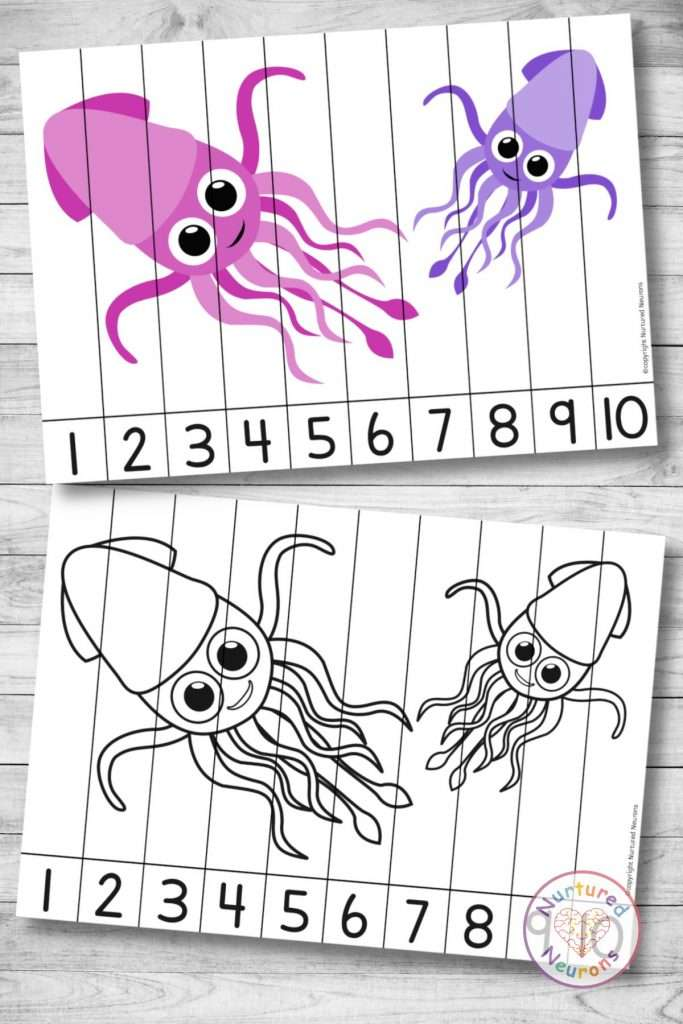 cute squid Number Sequencing puzzle (preschool and kindergarten printable activity)