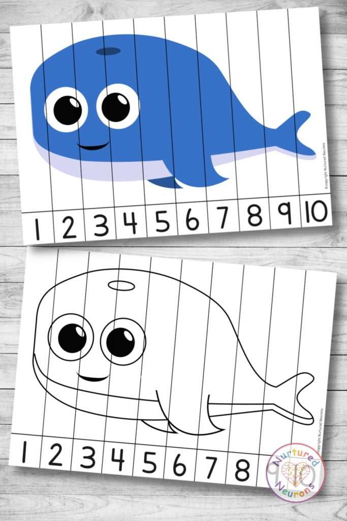 cute whale Number Sequencing puzzle (preschool and kindergarten printable activity)