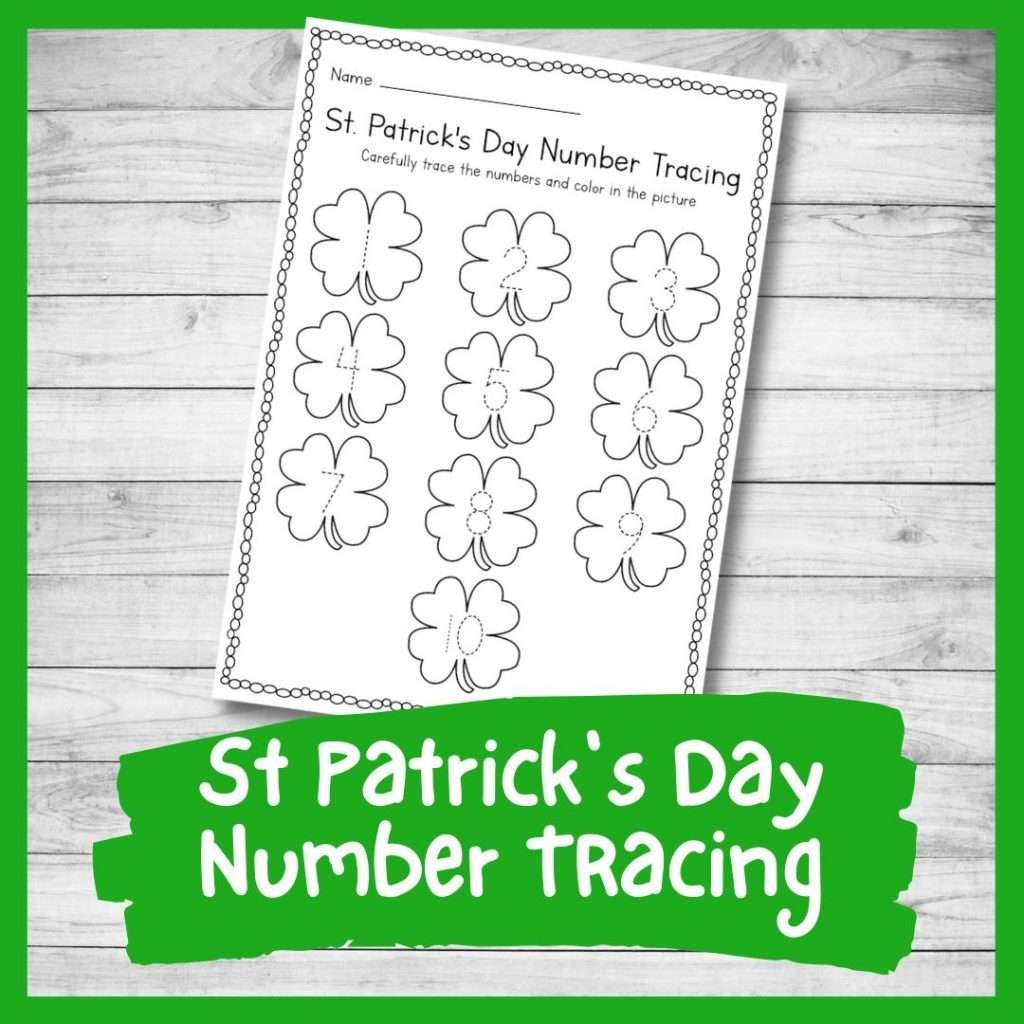 number tracing sheet - St Patrick's day preschool printable writing skills