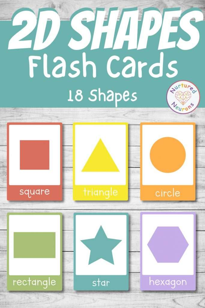 printable 2D shapes flashcards for kindergarten preschool and toddlers - pentagon, circle, square, parallelogram
