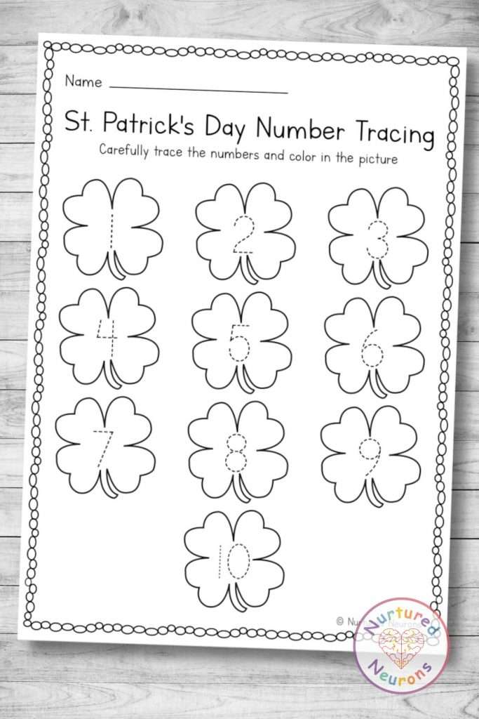 printable St Patrick's Number tracing page (preschool download)