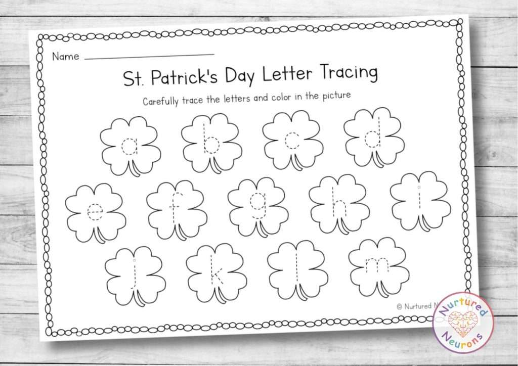 printable letter tracing worksheet - line tracing practice for Kindergarten st Patrick's Day