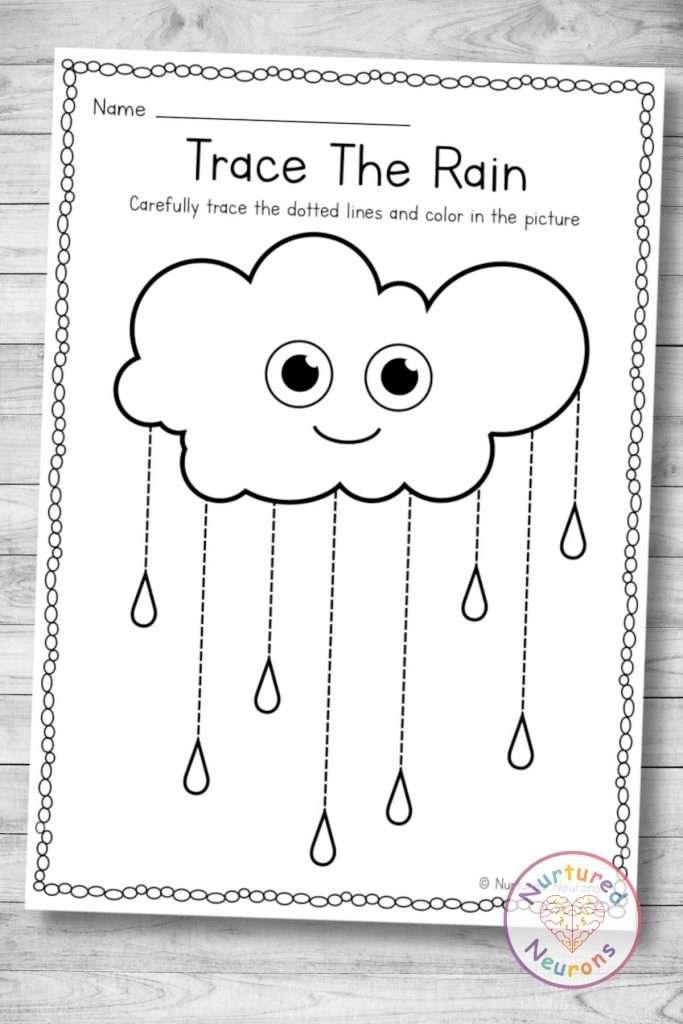 printable rain tracing worksheet (preschool and kindergarten download) pdf