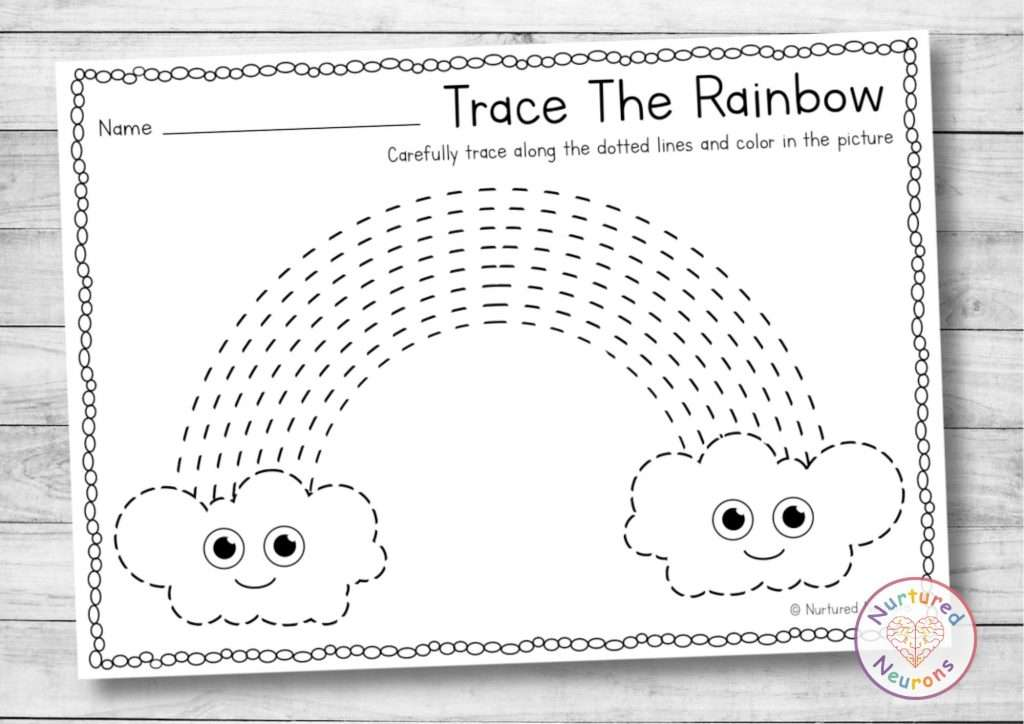 printable rainbow tracing worksheet - line tracing practice for preschool