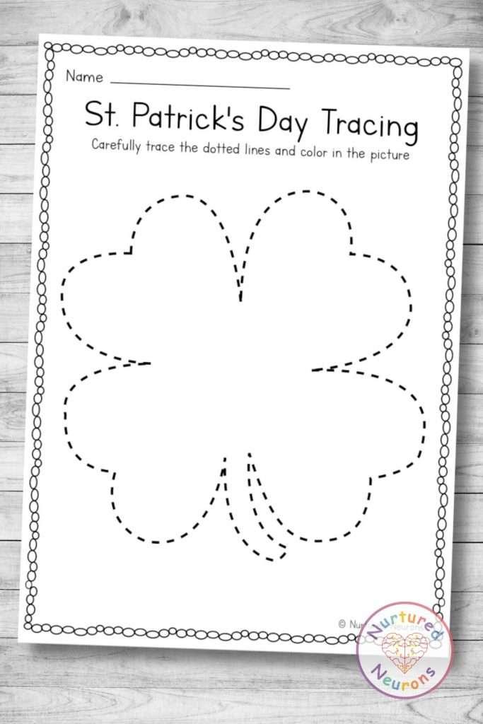 printable shamrock tracing page (preschool download)