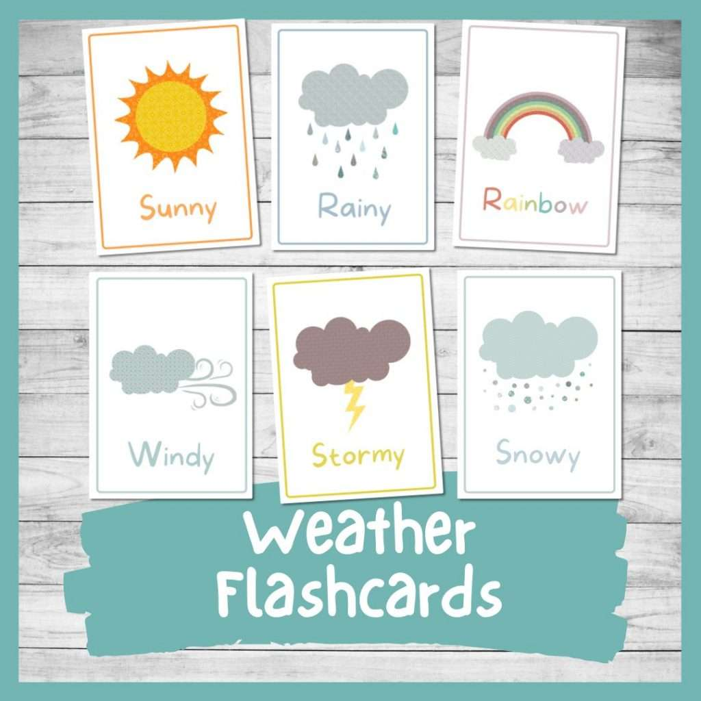 printable weather flashcards for kindergarten preschool toddlers