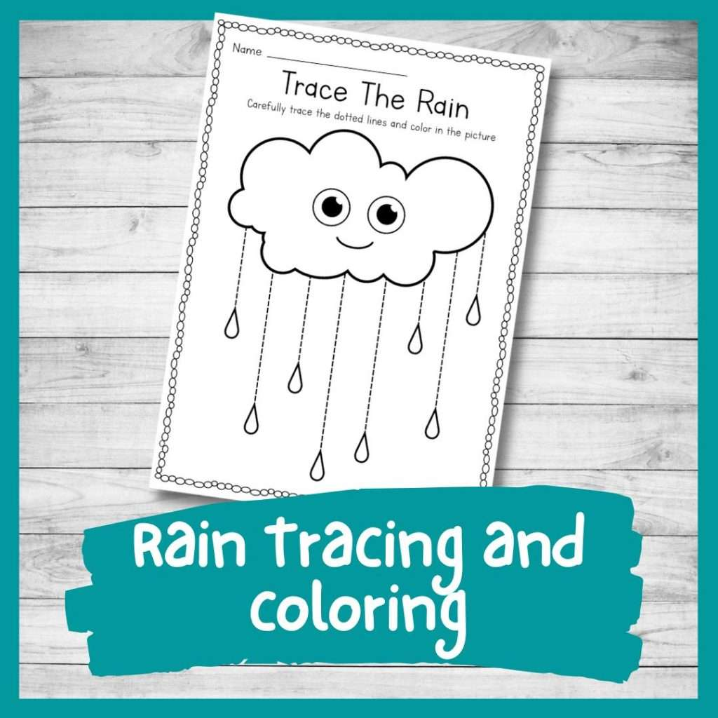 rain tracing and coloring sheet - weather kindergarten printable writing skills worksheet