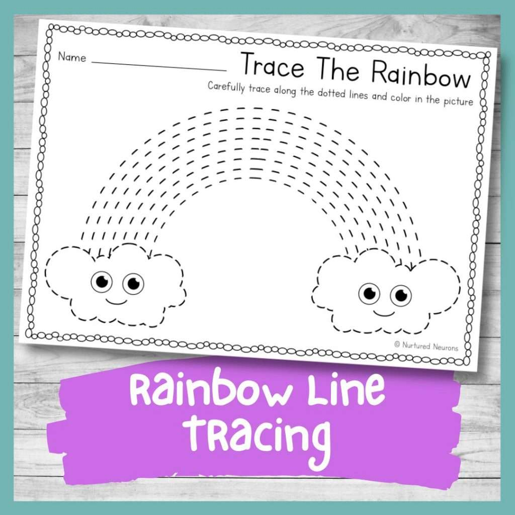 rainbow line tracing worksheet for preschool - printable tracing practice