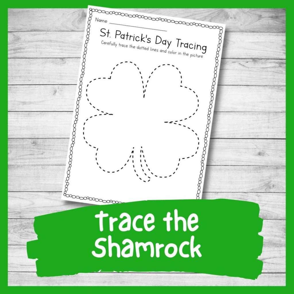 shamrock tracing sheet - St Patrick's day preschool printable writing skills