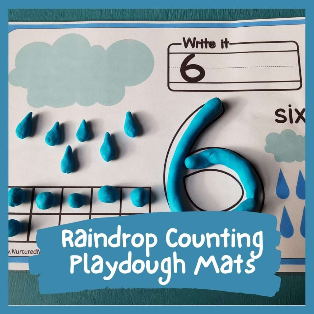 spring raindrop counting playdough mat for math skills and counting preschool kindergarten