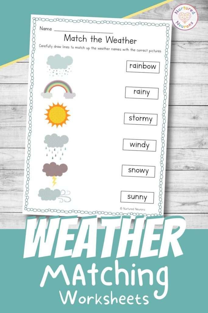 Beautiful weather matching worksheets for kindergarten and preschool