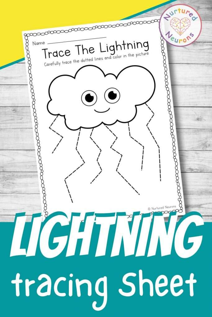 Cute lightning tracing worksheets for preschool - printable tracing page for kindergarten