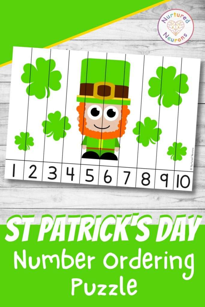 Cute St Patrick's Day number ordering puzzle Leprechaun Math printable math worksheet for kids