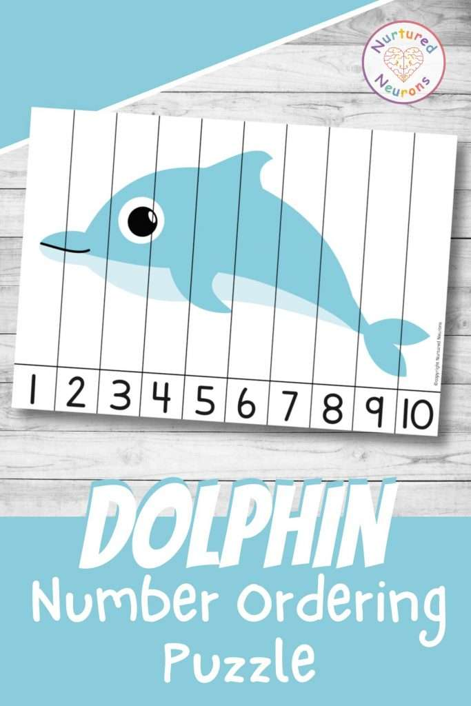 Cute Dolphin number ordering puzzle sea animal Math printable math worksheet for kids