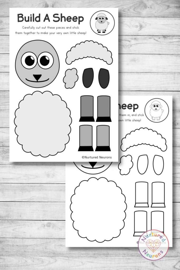 cute sheep template cut and paste spring craft (preschool download pdf)