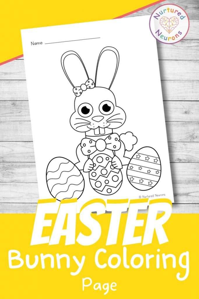 printable Easter bunny coloring page for kids preschool kindergarten pdf
