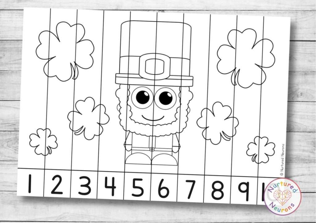 St Patrick's Day number sequencing puzzle for preschool and kindergarten Leprechaun numbers
