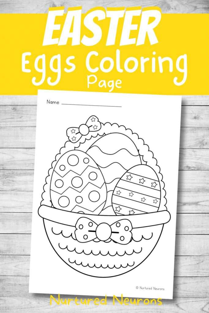 Coloring Easter - eggs in a basket with bows pdf