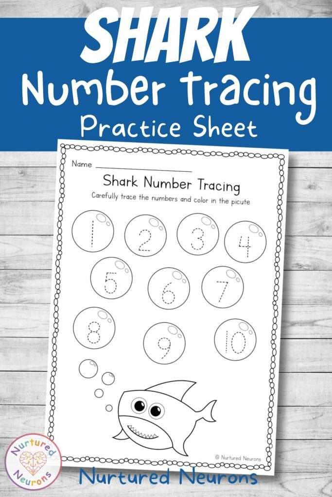 baby shark number formation worksheet - number tracing for kindergarten and preschool