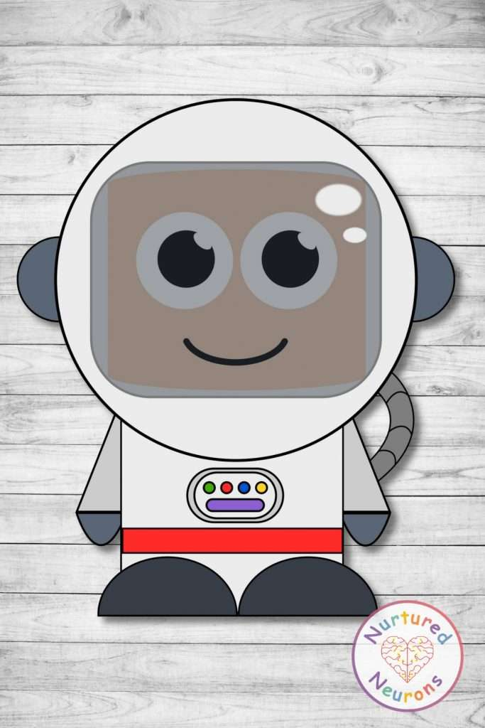 cute astronaut template cut and paste space craft (preschool and kindergarten pdf)