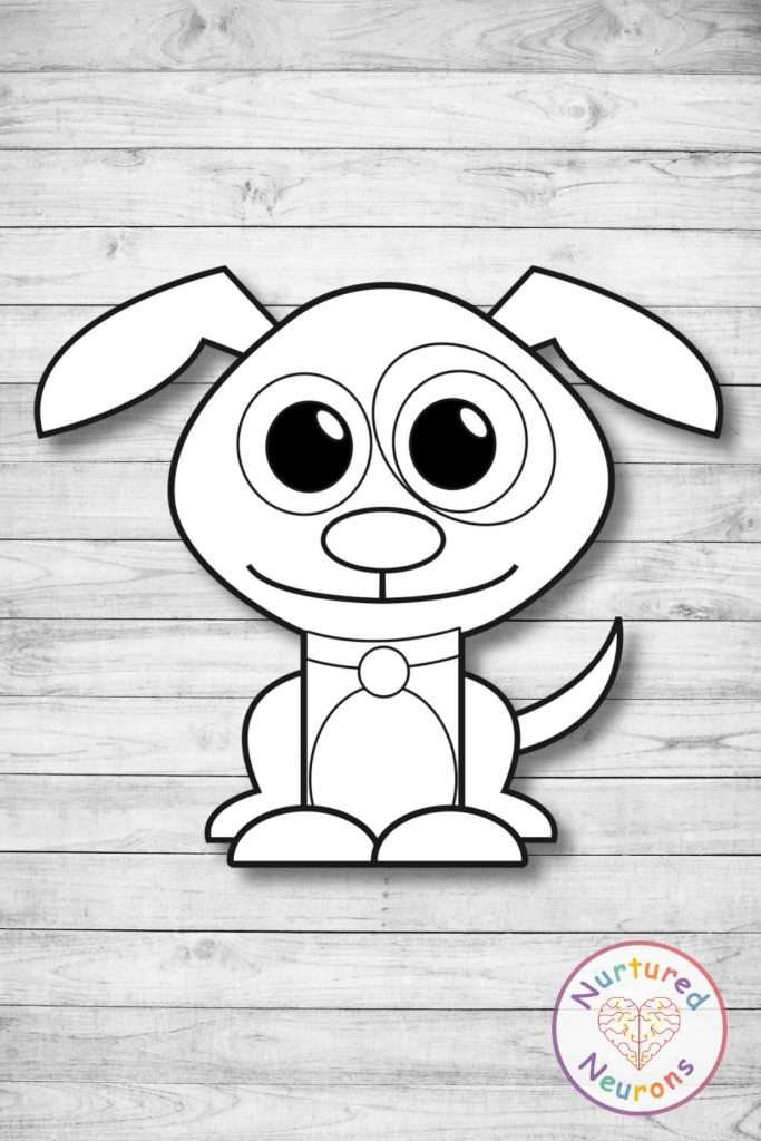 Black and white dog template craft