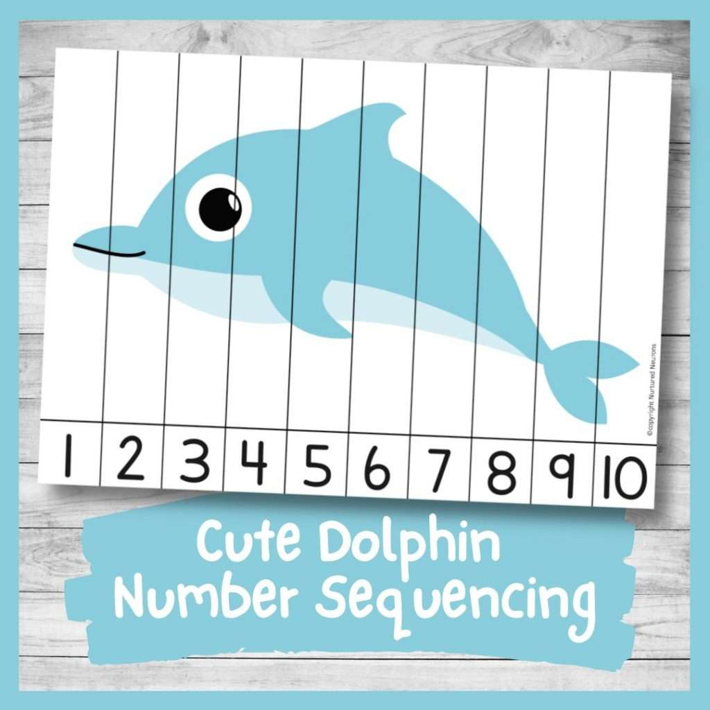 Dolphin Number ordering and number recognition puzzle (cute sea animal math printable)