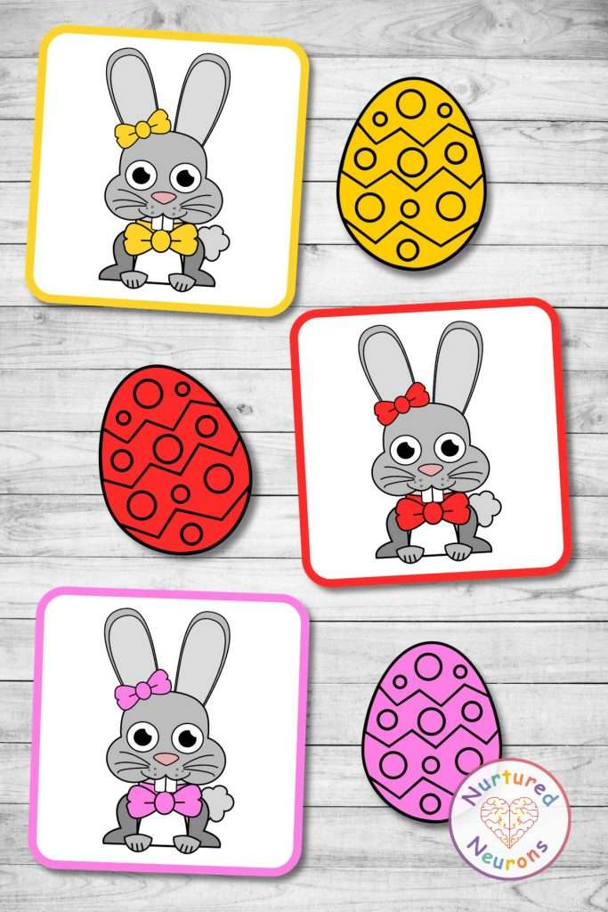 Easter color matching game (preschool pdf download)
