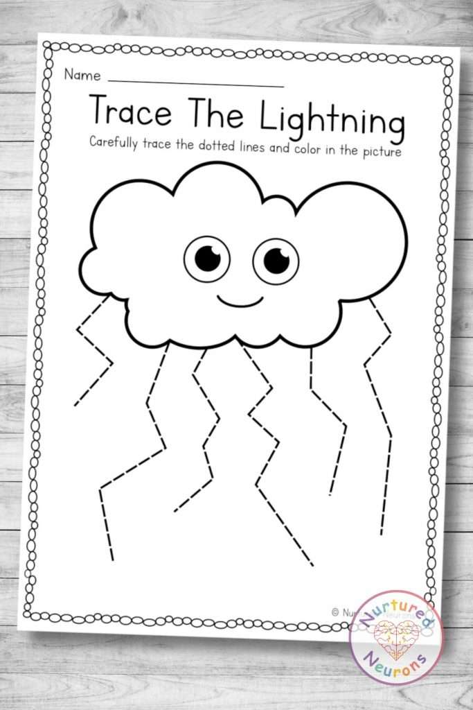 Printable lightning tracing worksheet (preschool and kindergarten download)
