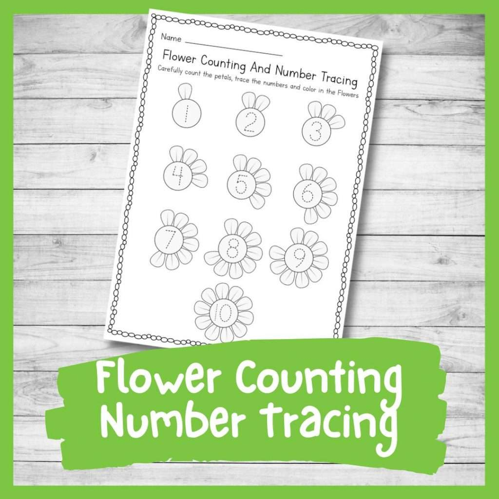 number tracing sheet - spring flower theme kindergarten printable writing skills