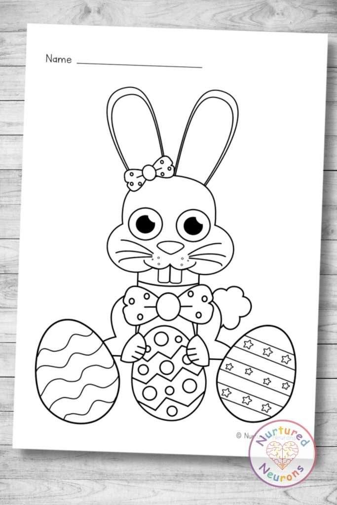 printable Easter Bunny coloring page (preschool pdf download)