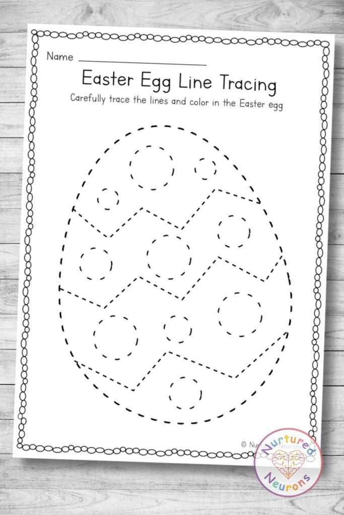 printable Easter Egg tracing page (preschool and kindergarten pdf download)