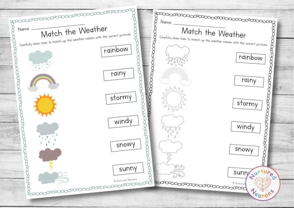 printable kindergarten weather matching worksheets for kindergarten beautiful design