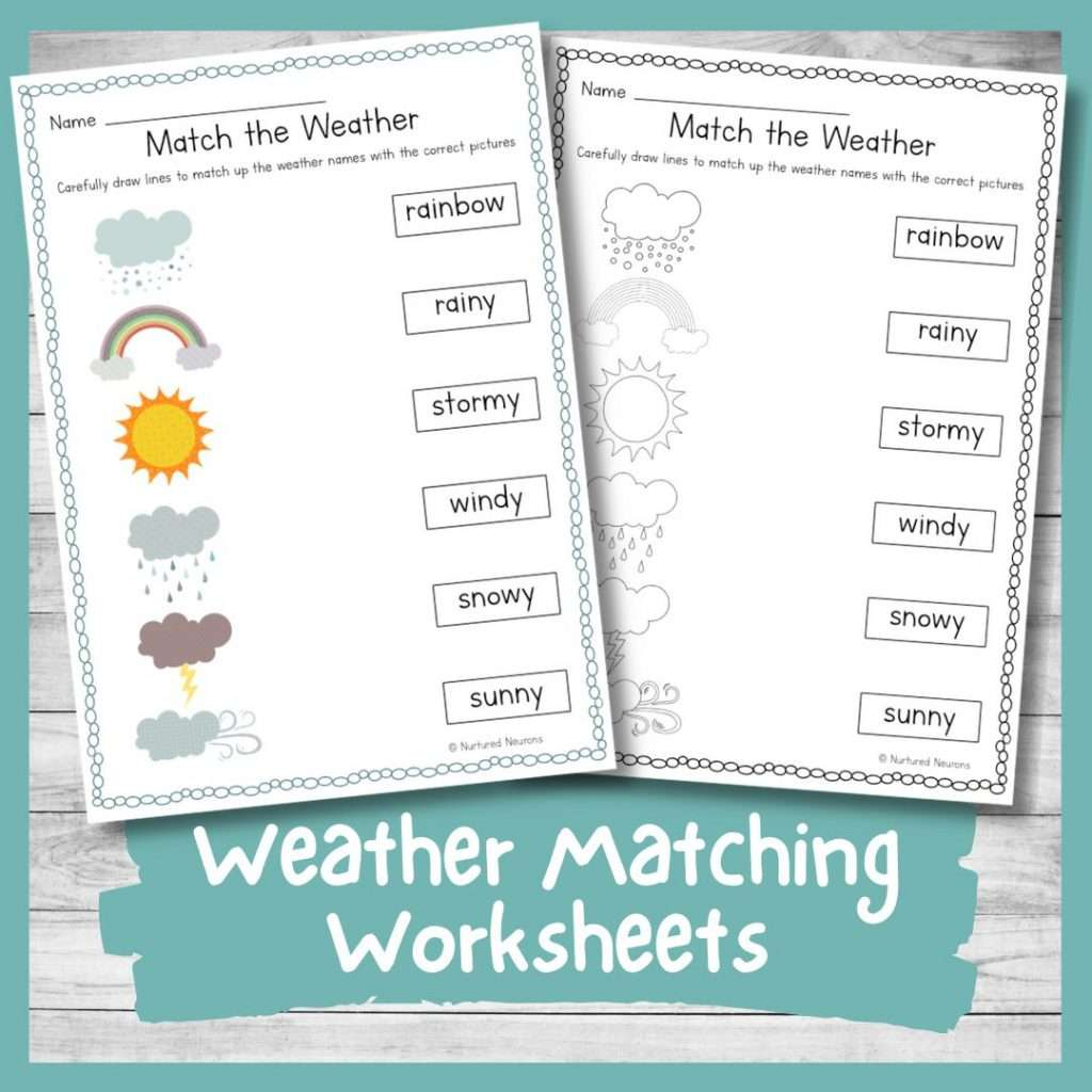 printable weather matching sheets for kindergarten