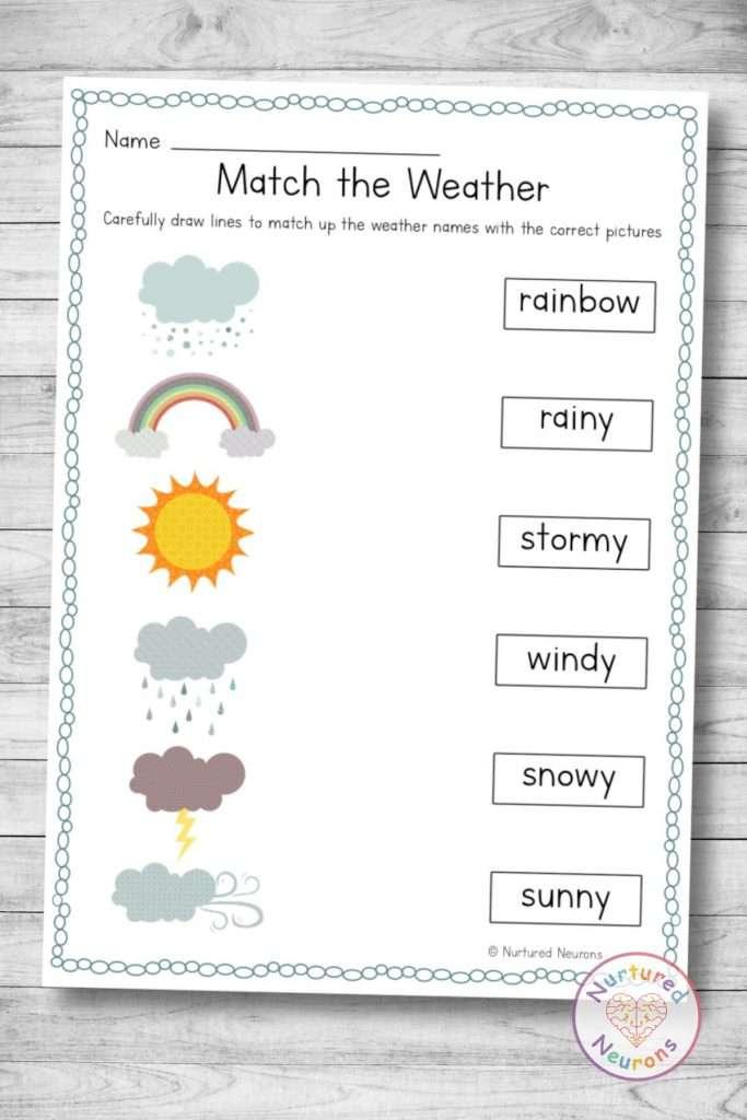 printable weather matching worksheets for kindergarten download pdf