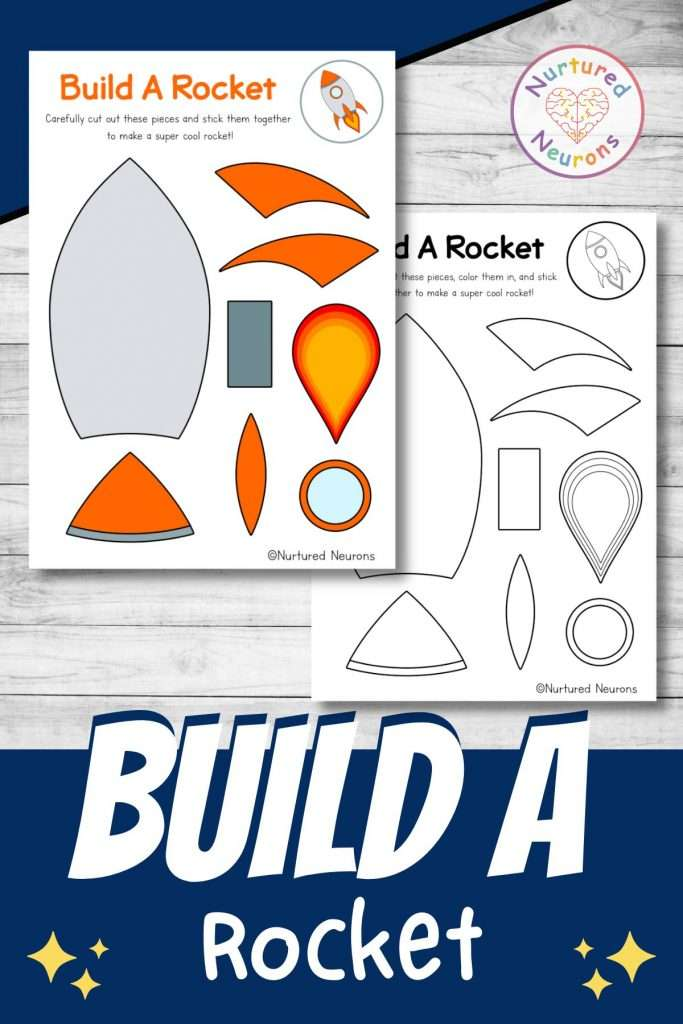 build a rocket craft printable cute space cut and paste for preschool and kindergarten