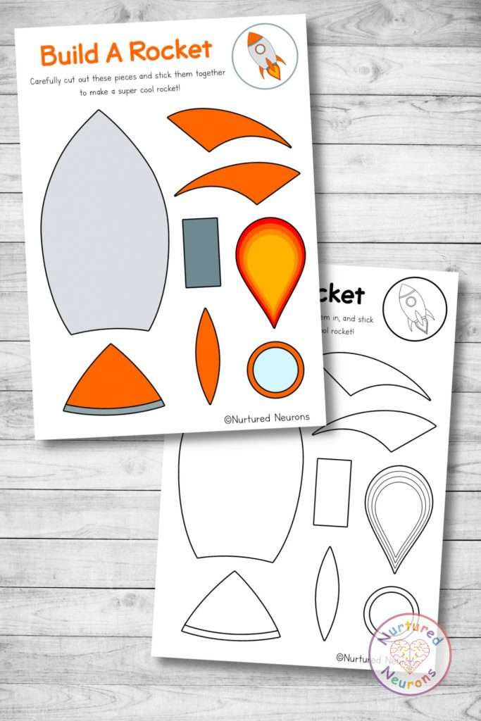 paper rocket template cut and paste space craft (preschool and kindergarten pdf)