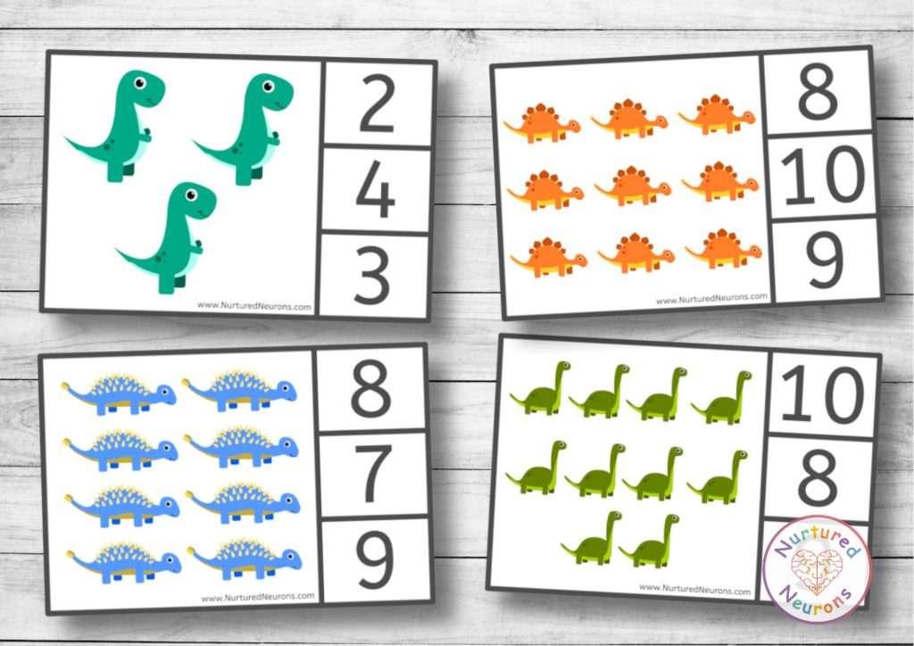 printable dinosaur clip cards for kindergarten and peg cards for preschool
