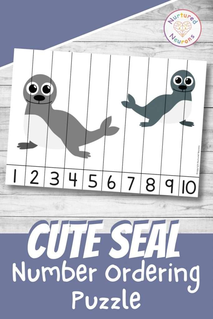 Seal number sequencing puzzle for preschool and kindergarten sea animal math
