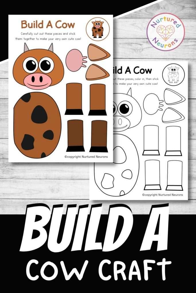 build a cow craft printable cute farmyard cut and paste for preschool and kindergarten