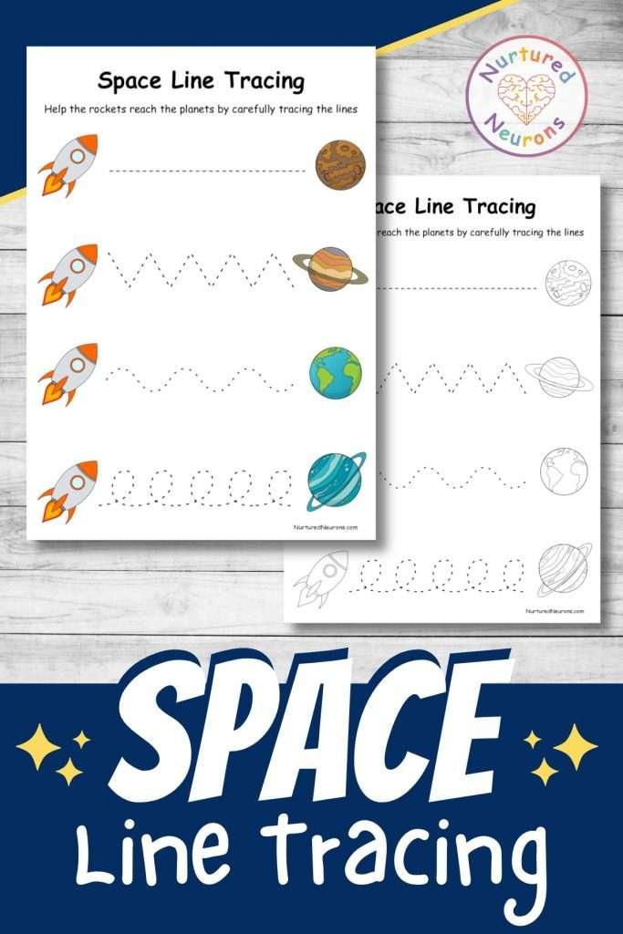 Space line tracing worksheets for preschool and kindergarten - practice prewriting skills