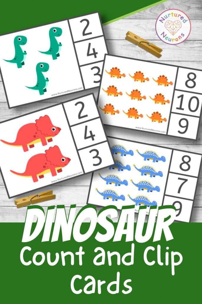Dinosaur Clip cards for preschool and kindergarten math activities