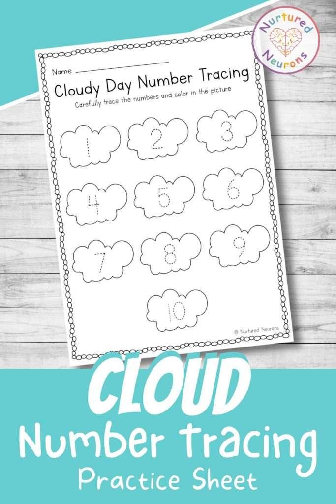 cloud number tracing worksheets for preschool - printable number tracing page for kindergarten