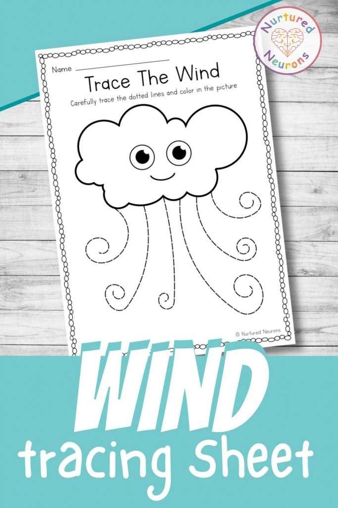 Cute wind tracing worksheets for preschool - printable tracing page for kindergarten