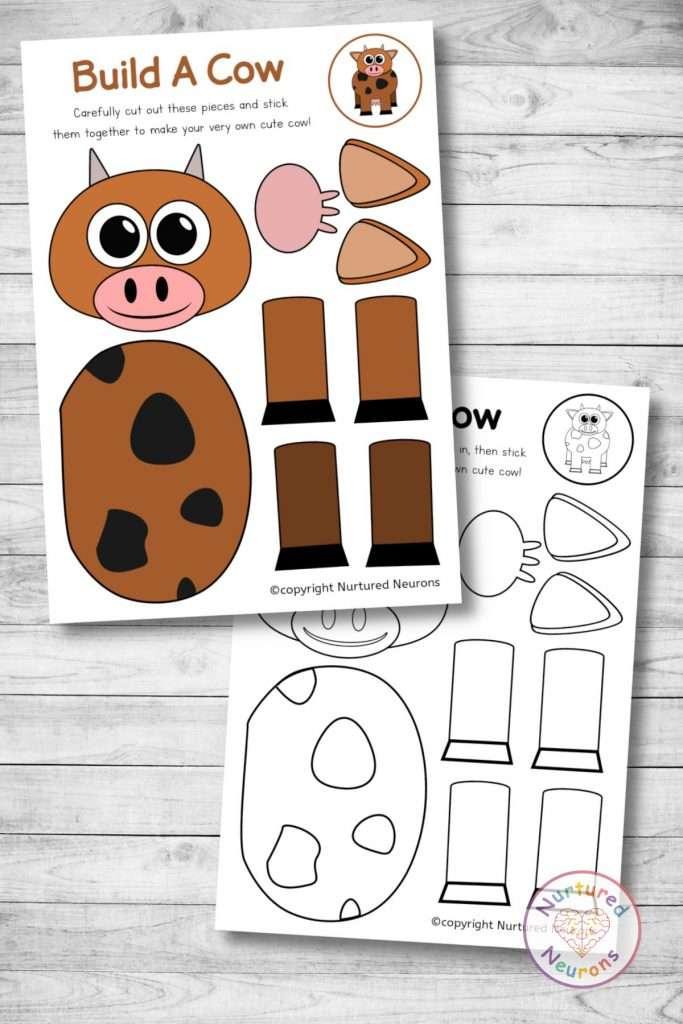 cute cow template cut and paste farmyard craft (preschool download pdf)
