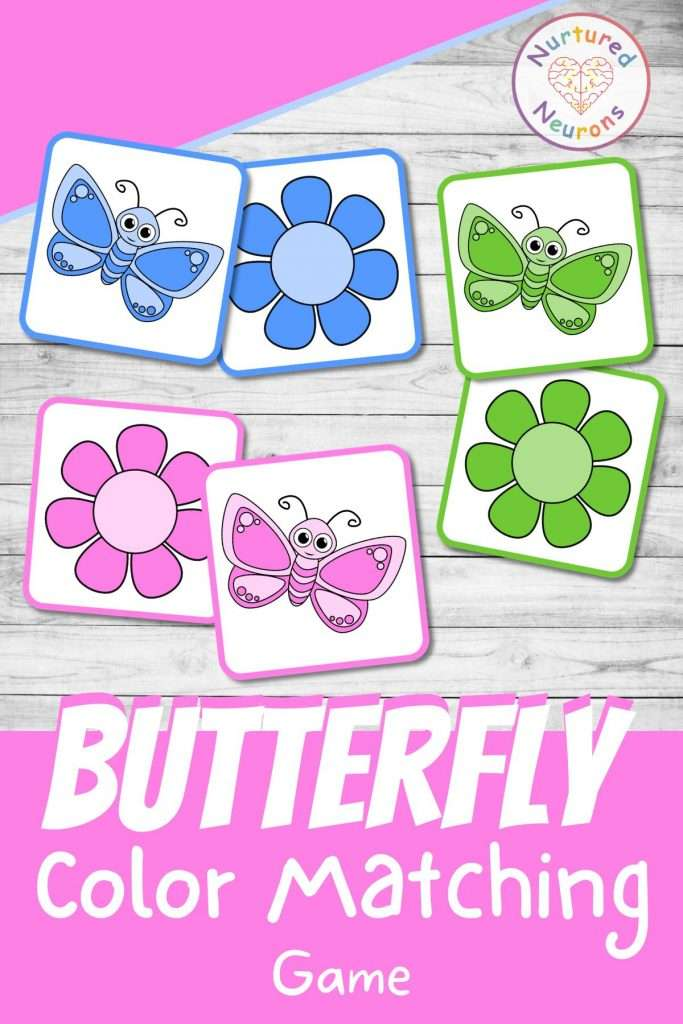 Butterfly Color Matching game for preschool and kindergarten - printable Spring activity